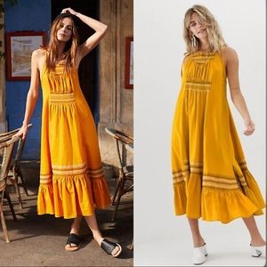 Free people another loved smocked midi Dress sz S